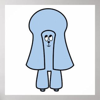 Perro lindo Caniche de juguete azul caniche minia Poster