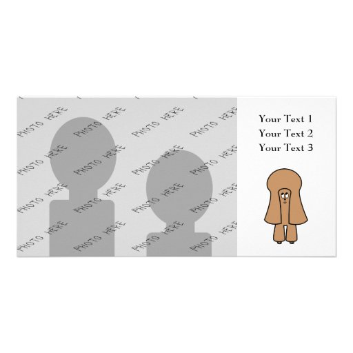 Perro lindo. Caniche marrón de la miniatura/de jug Tarjeta Con Foto Personalizada