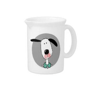 Perro lindo con los oídos flojos jarra de beber