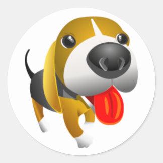 Perro lindo de 3d Basset Hound Pegatina Redonda