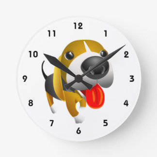 Perro lindo de 3d Basset Hound Reloj Redondo Mediano