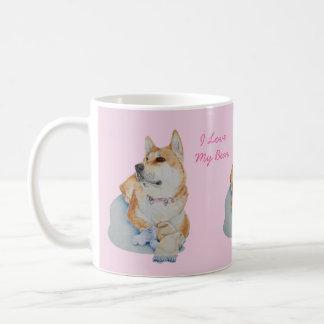 perro lindo de Akita con arte del realista del Taza De Café