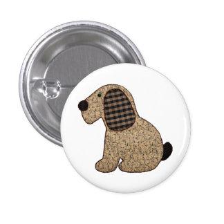 Perro lindo de la guinga del estilo rural pin redondo 2,5 cm