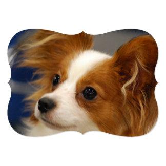 """Perro lindo de Papillon Invitación 5"""" X 7"""""""