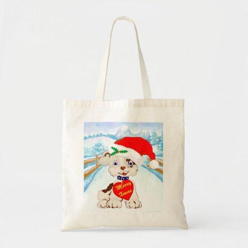 Perro lindo de Santa con paisaje del invierno Bolsa Tela Barata