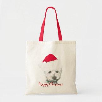 Perro lindo de Westie del navidad Bolsa Tela Barata