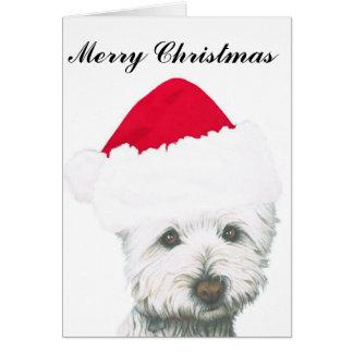 Perro lindo de Westie del navidad Tarjeta De Felicitación