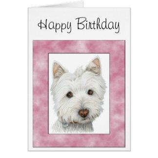 Perro lindo de Westie en arte rosado del marco Tarjeta De Felicitación