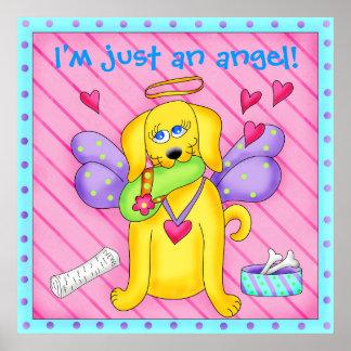 Perro lindo del ángel con las alas en rosa póster