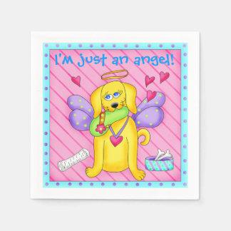 Perro lindo del ángel con las alas en rosa servilletas desechables