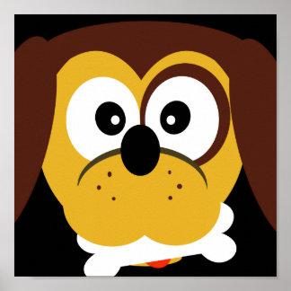 Perro lindo del dibujo animado con la impresión póster