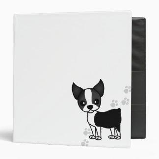 """Perro lindo del dibujo animado de Boston Terrier - Carpeta 1 1/2"""""""
