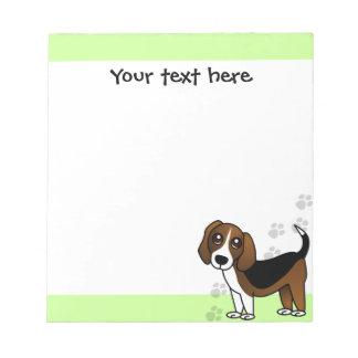Perro lindo del dibujo animado del beagle en verde blocs