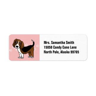 Perro lindo del dibujo animado del beagle etiquetas de remite