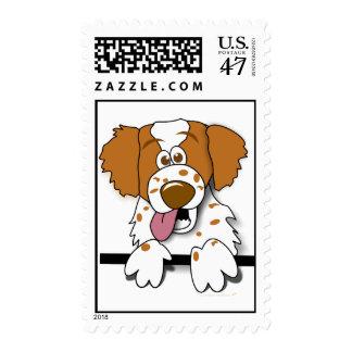 Perro lindo del dibujo animado del perro de aguas sello postal