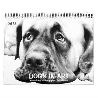 Perro lindo del mastín calendario de pared