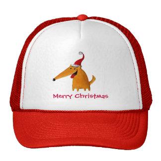Perro lindo del navidad gorra