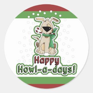 Perro lindo del navidad etiqueta redonda