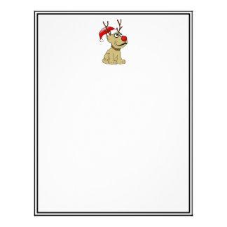 Perro lindo del reno del navidad con las astas membrete personalizado