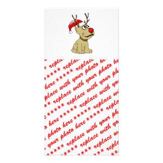 Perro lindo del reno del navidad con las astas tarjeta fotografica