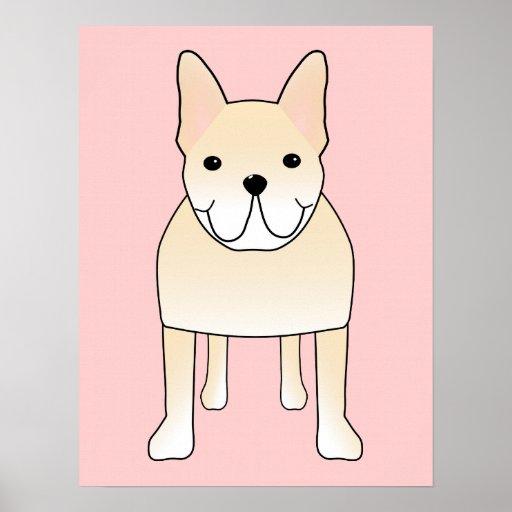 Perro lindo. Dogo francés poner crema pálido Póster