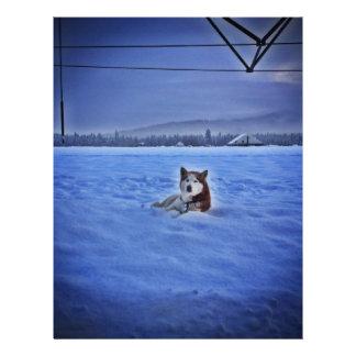 perro lindo en nieve membrete a diseño