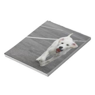 Perro lindo en una libreta bloc de notas
