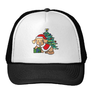 Perro lindo estupendo del navidad gorras de camionero