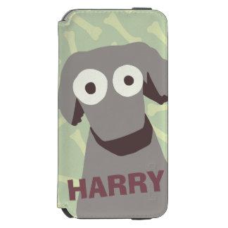 Perro lindo gris funda billetera para iPhone 6 watson