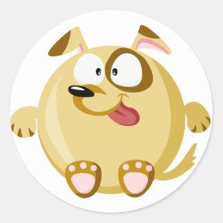 Perro lindo pegatina redonda