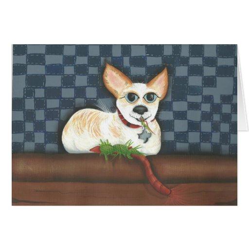 perro lindo que come su juguete tarjeta de felicitación