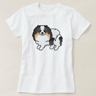 Perro lindo tricolor de Pomeranian del dibujo Remera