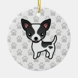 Perro liso de la chihuahua de la capa del color adorno navideño redondo de cerámica