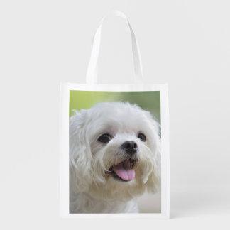 Perro maltés blanco que pega hacia fuera la lengua bolsas reutilizables