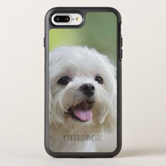 Perro maltés blanco que pega hacia fuera la lengua funda OtterBox symmetry para iPhone 7 plus