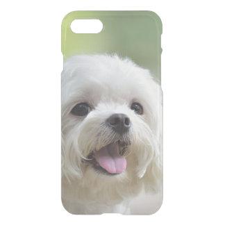 Perro maltés blanco que pega hacia fuera la lengua funda para iPhone 7