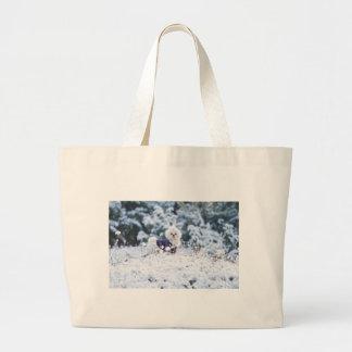 Perro maltés lindo bolsas lienzo