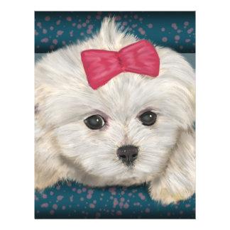 Perro maltés lindo con la piel de la nata y la membrete personalizado