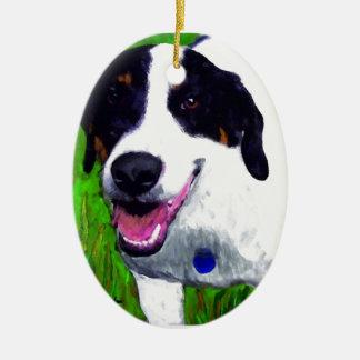 Perro mezclado de la raza adorno de navidad