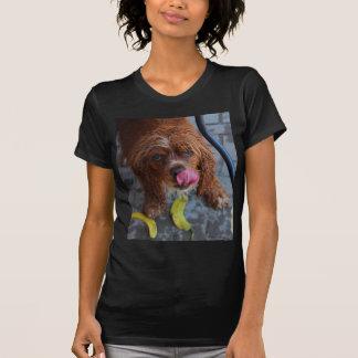 Perro mojado con un plátano camisetas