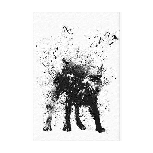 perro mojado impresión en lona estirada
