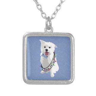 Perro mullido blanco - amor de la alegría de la joyeria personalizada