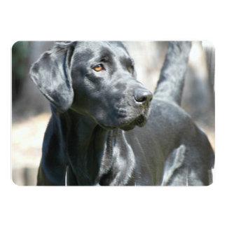 Perro negro alerta del labrador retriever invitación 12,7 x 17,8 cm