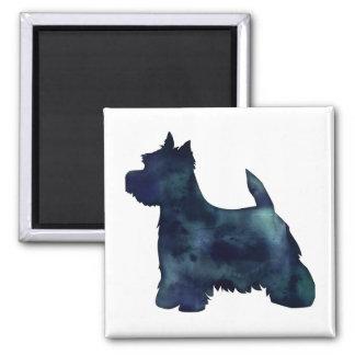 Perro negro de la silueta de Westie Waterolor Imán Cuadrado