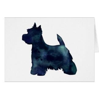Perro negro de la silueta de Westie Waterolor Tarjeta De Felicitación
