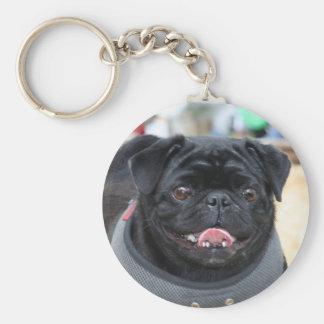 Perro negro del barro amasado llavero redondo tipo pin