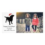 Perro negro del laboratorio del navidad que lleva tarjetas fotograficas