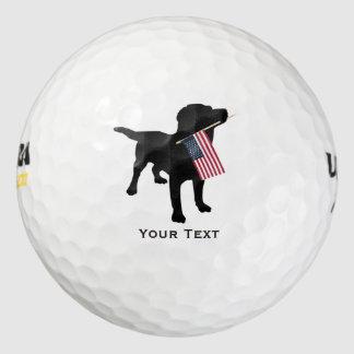 Perro negro del laboratorio que sostiene la pack de pelotas de golf