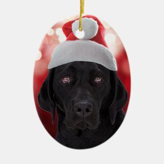 Perro negro del labrador retriever ornamente de reyes