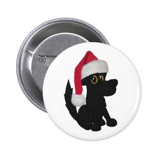 Perro negro del navidad pin redondo 5 cm